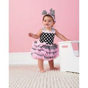 Mud Pie Baby Polka Dot Stripes Halter Party Dress